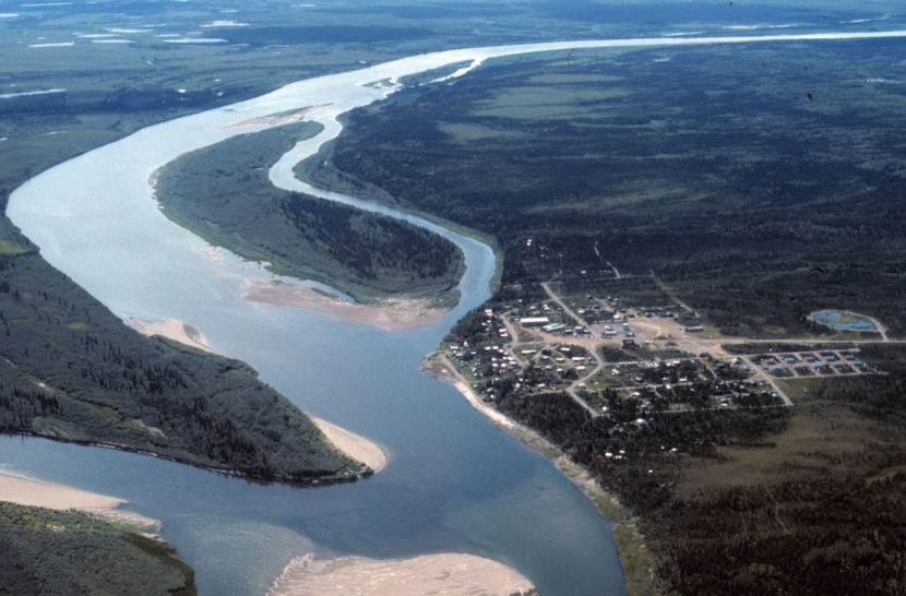 Aerial view of Ambler and the Kobuk River in the summer. (Photo courtesy of the National Park Service via UAF Gates of the Arctic Research Portal)