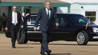A 2004 case involving the Secret Service made its way to the Supreme Court Wednesday. Demonstrators wanted to sue for being moved away from then-President George W. Bush. Charles Dharapak/AP