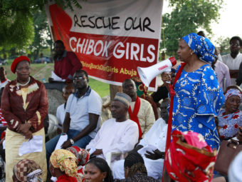 A woman makes a speech during a rally earlier this week in Chibok, Nigeria, calling on the government to rescue the kidnapped schoolgirls. Sunday Alamba/AP