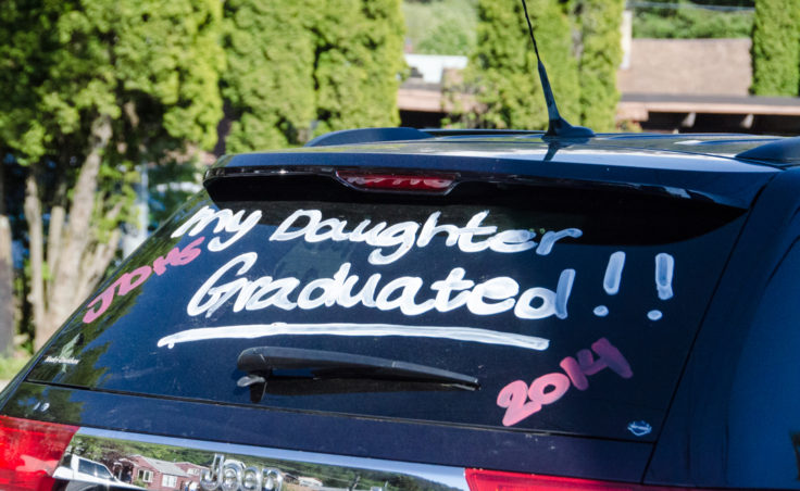 A proud parent's car in the JDHS parking lot. (Photo by Heather Bryant/KTOO)