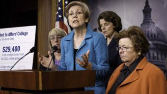 """Who does Washington work for?"" asked Sen. Elizabeth Warren, D-Mass., after her bill that would let people refinance student debt was shot down Wednesday. J. Scott Applewhite/AP"