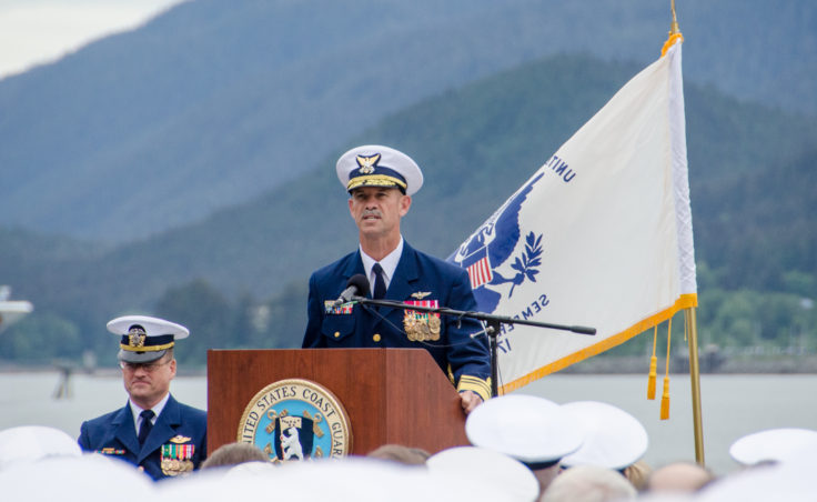 Pacific Area Commander, Vice Adm. Charles Ray praised Rear Adm. Tom Ostebo's leadership during his 3 years of command in Alaska. (Photo by Heather Bryant/KTOO)