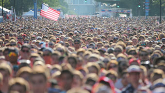 Fans gather in Chicago's Grant Park to watch the U.S. play Portugal Sunday — a game that set a new ratings record for soccer on ESPN. Scott Olson/Getty Images