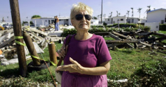 Barbara Cassidy stands in front of her Davie, Fla., mobile home one month after Hurricane Wilma destroyed her home in 2005. Wilma was the last major storm to make landfall in the U.S. J. Pat Carter /AP