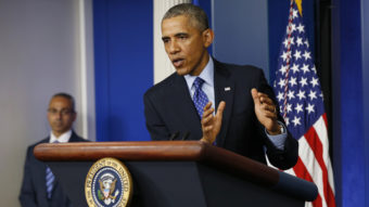 President Obama speaks about Iraq in the Brady Briefing room of the White House Thursday. Obama said the U.S. will send up to 300 military advisers to Iraq — but that U.S. forces won't engage in combat with Islamic State in Iraq and Syria (ISIS) militants. Win McNamee/Getty Images