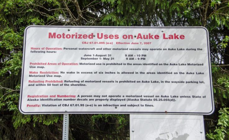 New signage was installed at Auke Lake alerting users to rules regarding motorized uses on Auke Lake. (Photo by Heather Bryant/KTOO)