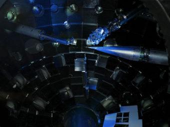Physicists put diamonds at the center of this massive laser, to see what would happen. Matt Swisher/Matt Swisher/LLNL