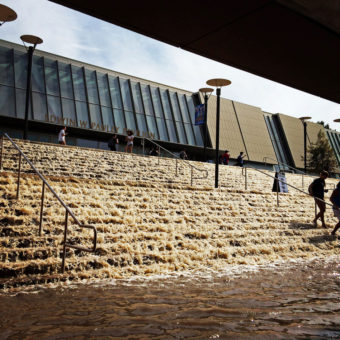 Water cascades down a stairway to a parking structure adjacent to Pauley Pavlion, home of UCLA basketball. Paul Phootrakul/AP