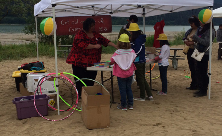 There were various booths with activities for kids. (Photo by Sarah Yu/KTOO)