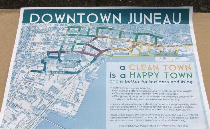 Volunteers received maps of where the cleanup effort was focused. (Photo by Rosemarie Alexander/KTOO)