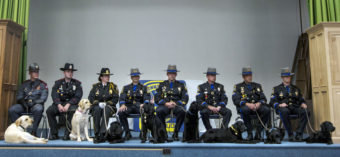 In June, the 167th Patrol Dog Class graduated from their canine narcotics and electronic media detection training, held by the Connecticut State Police Canine Unit. At far left is Thoreau, who now helps police in Rhode Island find computer hard drives. Daniel Owen/Courtesy of The Hartford Courant