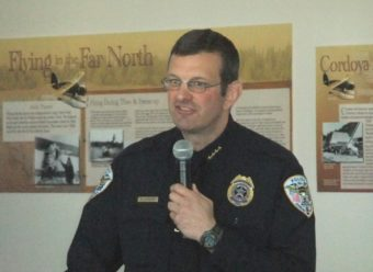 Juneau Police Chief Bryce Johnson at the Chamber of Commerce Thursday in the Alaska Room of the Juneau Airport. (Photo by Rosemarie Alexander/KTOO)