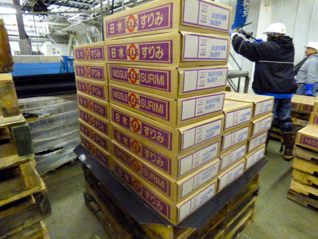 A pallet of raw surimi at UniSea's plant in Unalaska. UniSea planned to export about 500 tons of raw surimi to Russia this season. (Photo by Lauren Rosenthal/KUCB)