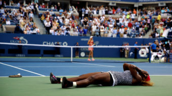 Serena Williams reacts after defeating Caroline Wozniacki of Denmark to win their women's singles final match of the 2014 U.S. Open on Sunday. The win was Williams' 18th Grand Slam title. Al Bello/Getty Images