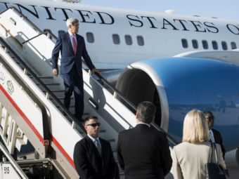 Secretary of State John Kerry arrives at Queen Alia Airport in Amman, Jordan, on Wednesday, ahead of a stop in Iraq. Kerry is hoping to nail down support for a U.S. plan to combat the Islamic State insurgency in Iraq and Syria. Reuters/Landov