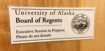 The University of Alaska Board of Regents met in Anchorage for an executive session. At the end of the meeting, they went into public session and voted 9-1 to rescind President Pat Gamble's retention bonus. (Photo by Josh Edge, APRN – Anchorage)