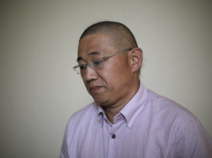 Kenneth Bae, an American tour guide and missionary serving a 15-year sentence in North Korea, speaks to The Associated Press on Monday. Bae and two other detained Americans urged the U.S. to send a high-level emissary to secure their release. Wong Maye-E/AP