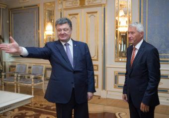 Ukrainian President Petro Poroshenko, left, welcomes Secretary-General of the Council of Europe Thorbjorn Jagland during a meeting in Kiev on Monday. Mykhailo Markiv/AP
