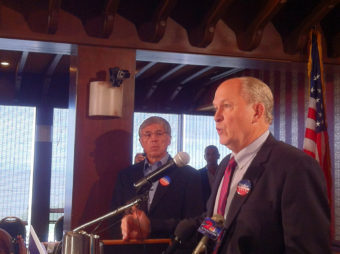Bill Walker (right) addresses a press conference about his decision to join Byron Mallott (left) on a Unity Ticket. (Photo by Anne Hillman/KSKA)