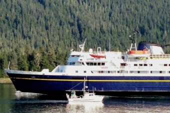 The ferry Taku sails into the Wrangell Narrows on its way south. It's part of an aging fleet needing repairs or replacement. (Ed Schoenfeld/CoastAlaska News)