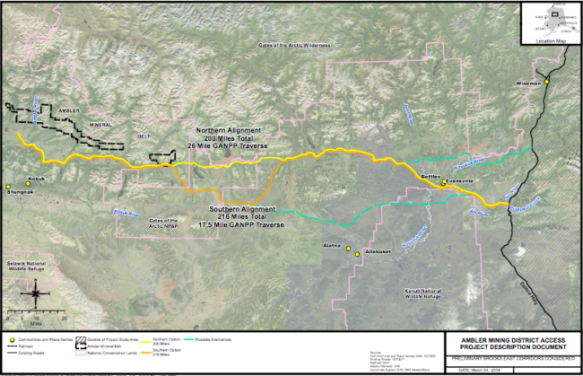 A map of AIDEA's proposed routes for the Ambler Mining District Industrial Access Road. (Image courtesy the Alaska Industrial Development and Export Authority)