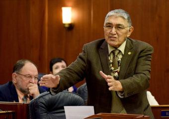 Rep. Benjamin Nageak, D-Barrow, speaks in the Alaska House of Representatives during debate on House Bill 123 to establish a marijuana control board in Alaska, April 14, 2015. (Photo by Skip Gray/360 North)