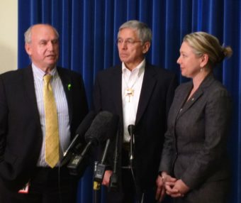 Alaska Lt. Gov. Byron Mallott, center, holds a press conference Monday with B.C. Mines Minister Bill Bennett and Environment Minister Mary Polak. (Photo courtesy B.C. government)