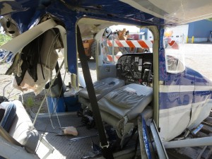 Interior Of The Cessna 172 Piloted By Cole Hagge After Sundayu0027s Collision.  (Photo By Elwood Schapansky)