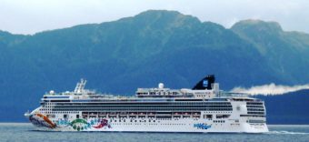 The cruise ship Norwegian Pearl sails south through Chatham Strait on its final voyage of the 2013 season. The ship is one of six permitted to release treated wastewater in Alaska harbors this summer. (Ed Schoenfeld/CoastAlaska News)