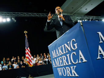 President Obama promotes the American Recovery and Reinvestment Act, also known as the stimulus package, in February 2009. Joe Raedle/Getty Images
