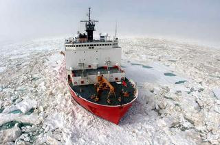 The Coast Guard vessel Healy is considered a medium icebreaker. President Obama has promised to speed up the acquisition of a heavy icebreaker for the Coast Guard's fleet. (Photo courtesy of the United States Coast Guard)