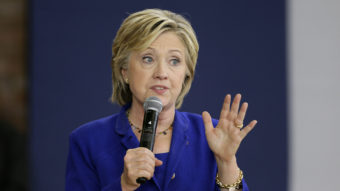 Democratic presidential candidate Hillary Clinton speaks during a community forum Tuesday at Moulton Elementary School in Des Moines, Iowa. Charlie Neibergall/AP