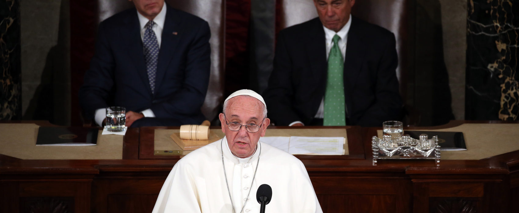 Pope Francis addresses a joint meeting of the U.S. Congress in the House Chamber of the U.S. Capitol Thursday. He is first pope to address a joint meeting of Congress. Mark Wilson/Getty Images