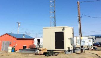 The newly erected GCI cellular tower on Ptarmigan Street in Bethel. (Photo courtesy of GCI)