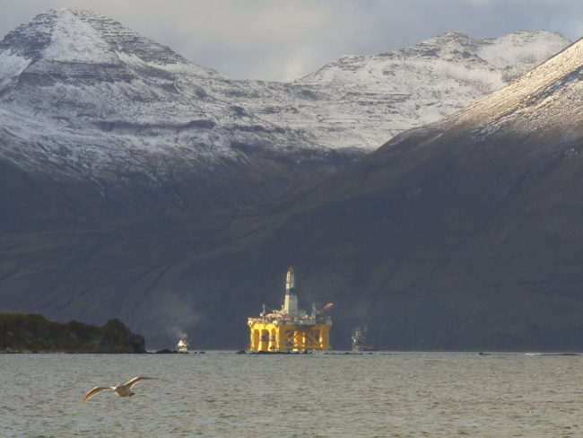 Shell rig leaving Dutch Harbor in October 2015. (Photo by John Ryan/KUCB)