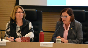 Four legislators, including Senators Anna MacKinnon and Berta, sit on the Alaska Safe Children's Act task force. The 10-member group met in the Anchorage Legislative Information Office Tuesday. (Photo by Mike Mason)