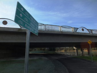 New Brotherhood Bridge features underpasses for pedestrians and cyclists on both banks of the Mendenhall River. (Photo by Matt Miller/KTOO)