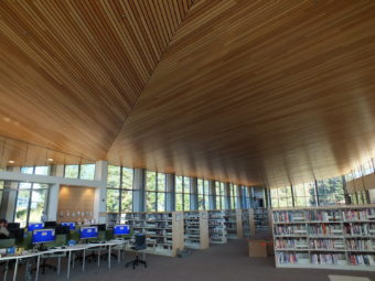 The new Mendenhall Valley Public Library features a wood ceiling. (Photo by Matt Miller/KTOO)