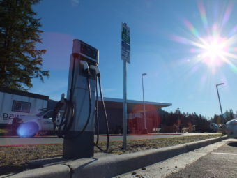 An electric vehicle charging station at the new Mendenhall Valley Public Library. (Photo by Matt Miller/KTOO)