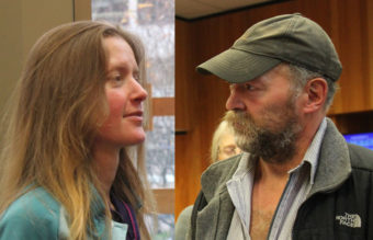 A photo composite of hiker Kathleen Turley and trapper John Forrest. (Photos by Lisa Phu/KTOO)