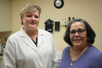 Nurse Practitioner Cynthia Mattoni (left) is the new medical provider at Front Street Community Health Center. Paula Rohrbacher is a medical assistant and works at the front desk. The health center also has a full-time case manager. (Photo by Lisa Phu/KTOO)