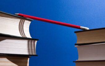 book stacks pencil bridge