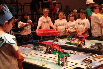 Teams from Southeast Alaska competed during the Juneau Robot Jamboree at Centennial Hall on Saturday. (Photo by Lisa Phu/KTOO)