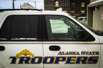 An Alaska State Trooper cruiser parked on Nome's Front Street in January 2015. (Photo by Matthew F. Smith/KNOM)