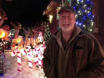 Originally from Long Island, N.Y., Jeff Campbell moved to Juneau in 1985. He's been decorating his house since the early 1990s. (Photo by Lisa Phu/KTOO)