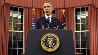President Barack Obama addressed the nation from the Oval Office at the White House on Sunday night