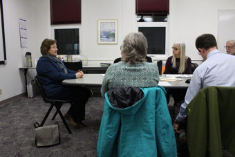 Barbara Sheinberg answers the Juneau Assembly's questions at her interview for the District 1 seat. (Photo by Elizabeth Jenkins/KTOO)