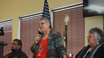 Burns Paiute Tribal Chairperson Charlotte Rodrique talks to reporters about the armed occupation of the Malheur National Wildlife Refuge near Burns, Ore., on Wednesday. Manuel Valdes/AP