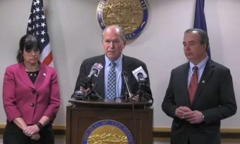 BP Alaska President Janet Weiss, Gov. Bill Walker and ConocoPhillips Alaska President Joe Marushack announced Wednesday that they're exploring options on the Alaska Liquefied Natural Gas Pipeline, but declined to give specifics. (Screenshot)
