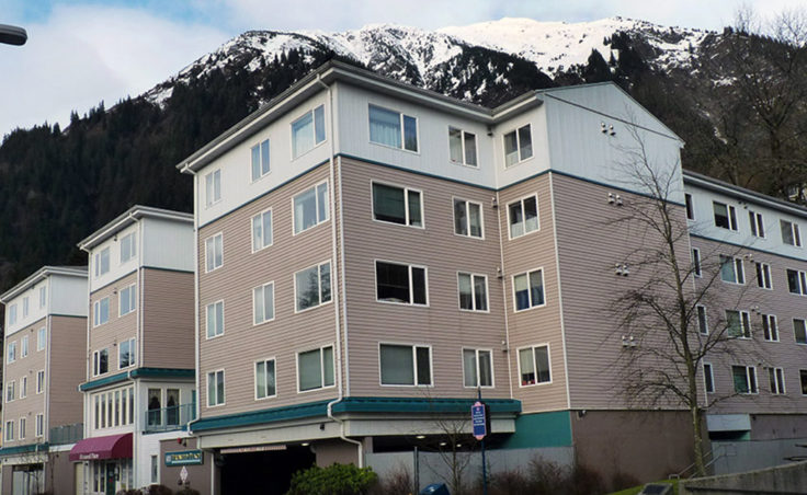 Fireweed Place, a 67-unit seniors' apartment building in downtown Juneau. (Photo by Ed Schoenfeld/CoastAlaska News)